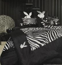 PLAYBOY ZEBRA Black/White/Silver Bunny Logo QUEEN Quilt Cover Set/QUEEN Coverlet