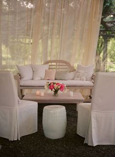 Create a lounge area at your next event.  Soft furnishings and clean lines.