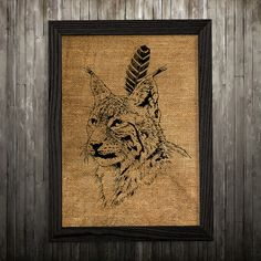 Lynx print. Animal poster. Wildlife decor. Burlap print.  PLEASE NOTE: this is not actual burlap, this is an art print, the image is printed on art