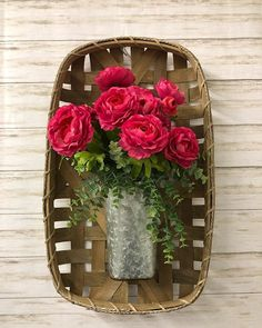 Spring is right around the corner and we can't wait! We are loving this tobacco basket and metal bucket with bright pink flowers and greenery! Rustic Design, Rustic Decor, Farmhouse Decor, Tobacco Basket Decor, Basket Decoration, Around The Corner, Grapevine Wreath, Bright Pink, Pink Flowers