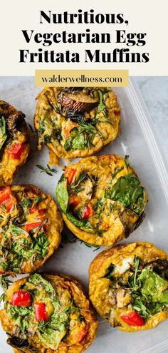 All you need is 10 min to prepare and 20 min in the oven, and you've got 8 healthy egg frittata muffins ready to grab-and-go for the week! Made with spinach, bell peppers, mushrooms, gruyere cheese, and thyme and baked in a muffin tin, this recipe is simple to cook. Make ahead of time, store them in the fridge or freezer, and reheat in the microwave. Breakfast is ready in minutes!