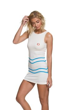 Alethia Tennis Dress Chalk and Blue. Available on our website:                                                                          www.30Fifteen.co.uk 30Fifteen | Tennis | Fitness | Health | Fashion