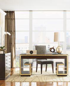 """Sligh """"Bel Aire"""" Brentwood Writing Desk   Lexington Home Brands #goldleaf"""