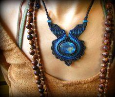 画像1: 日本より発送♪青い閃光が神秘的なラブラドライトのマクラメ編みネックレス*天然石パワーストーン