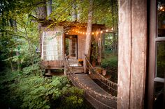 Beautiful Cozy Tree House Located in an Atlanta Backyard Located in his backyard, architect and environmentalist Peter Bahouth designed a dream treehouse linked by bridges in the Atlanta forest. Cabana, Cool Sheds, Tiny House Swoon, Magic Treehouse, Backyard Treehouse, Treehouse Living, Unusual Homes, She Sheds, Architecture Design