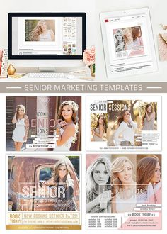• (5) Senior Marketing Templates • Layered Photoshop (.PSD) file, 300 dpi • Perfect for social media sites, your blog or email as a newsletter •