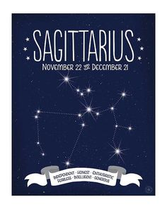 Sagittarius Constellation Map Zodiac Sign by AnneGarrisonStudio