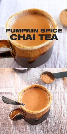 Chai Pumpkin Spice Tea Recipe Make this with my homemade DIY pumpkin pie spice and learn which bla - Ayurveda Rezepte Milk Tea Recipes, Coffee Recipes, Pumpkin Spice Tea, Diy Pumpkin, Pumpkin Spiced Coffee Recipe, Pumpkin Drinks, Chai Recipe, Best Chai Tea Recipe, Chi Tea Recipe