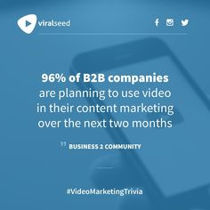 """of companies ale planning to use video in their content marketing over the next two months"""" - Business 2 Community Inbound Marketing, Content Marketing, Digital Marketing, Competitor Analysis, Trivia, Seo, Community, Social Media, How To Plan"""