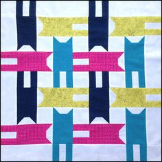 "= free  tutorial = Tumbling Cat Block, 24"" square, by Better off Thread"