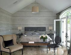 Kara Mann Design - slanted ceiling, doors, gray, floor, wallpaper