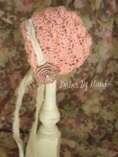 3 mo Baby Hat Vintage Inspired  Baby Bonnet by BabiesByHand, $25.00