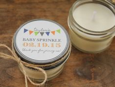 Set of 12 - 4 oz Baby Shower Favor Candles $57.00, via Etsy.