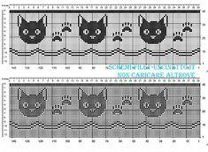 Bordo filet schema gratis con volti e impronte dei gatti larghezza 34 quadretti