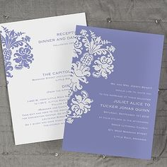 2014 Wedding Invitations Trends: Damask Silhouette ValStyle - Invitation - Orchid (Invitation Link - http://occasionsinprint.carlsoncraft.com/Invitations/Wedding/3084-VR42B1UOD-Damask-Silhouette-ValStyle--Invitation--Orchid.pro)