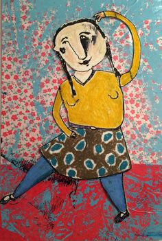 a happy pigtaildancer Illustration, Happy, Painting, Illustrations, Painting Art, Ser Feliz, Paintings, Painted Canvas, Drawings