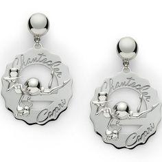 Orecchini grandi logo Madame Clochette con gatto,  in argento lucido e un diamante