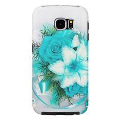 Aquamarine Floral Samsung Galaxy S6 Cases