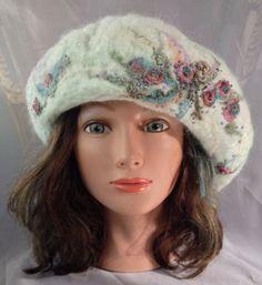 ladies felt beret felted hat warm hat merino wool by Tatiana123