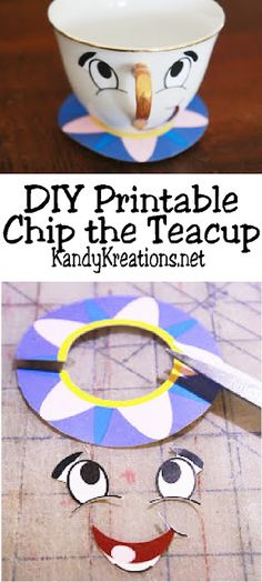 Celebrate your love of Beauty and the Beast by making your own Chip the Teacup decoration.  This DIY project shows you how to make Chip using a thrift store teacup and cheap printable for a fun and unique Beauty and the Beast party decoration.
