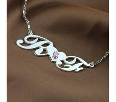 Sterling Silver Two Initial Swarovski Carrie Style Name Necklace TIS9