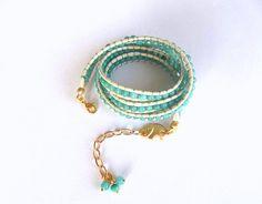 Beadwork - Wrap Leather Bracelet , Jewelry, Mint Green, Bracelet, Handmade Glass Beaded Bracelet, Gift,  Boho, Wrap Bracelet