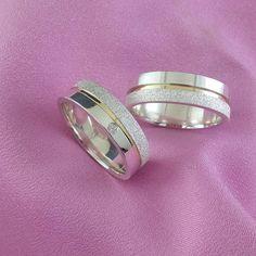 Alianças Namoro Ouro e Prata Diamantadas e Polidas 6 mm 12 g VJ1945