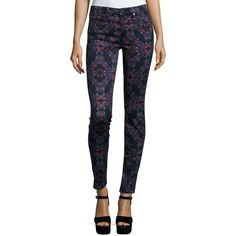7 For All Mankind The Mid-Rise Kaleidoscope Skinny Jeans ($198) ❤ liked on Polyvore featuring jeans, radiant stained g, skinny leg jeans, super skinny jeans, mid rise white skinny jeans, zipper skinny jeans and lined jeans