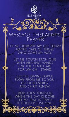 Massage Therapists' Prayer - something we embrace at our Spa in Singapore. #massagesingapore: