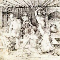 'Woman's Bath' by German Northern Renaissance artist, printmaker & mathematician Albrecht Dürer via WikiPaintings Albrecht Durer, Renaissance Kunst, Hans Holbein, Landsknecht, Medieval Life, Art Database, Italian Artist, Western Art, Chiaroscuro