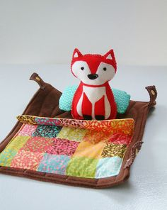 Fox In A Log Felt Woodland Log With Stuffed Fox and by Zooble