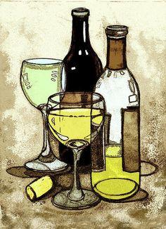 (notitle) - cork and wine - Glaskunst Bottle Drawing, Wine Glass Drawing, Wine Painting, Wine Art, Guache, Wine Time, Sale Poster, Fine Art America, Glass Art