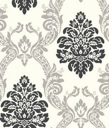 Black And Silver Damask Wallpaper From White Embossed Bathroom