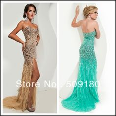 elegant high quality sweetheart necklace side slit crystal bead backless customized party dress JO015 long feather prom dresses $268.00