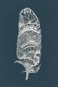 Feather PaperCut Art Print 11 X 14 by TheThinks on Etsy, $30.00lots of detail work...