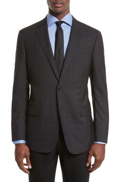 Main Image - Armani Collezioni Trim Fit Plaid Wool Sport Coat