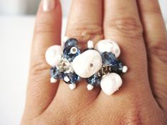 Sky Ring wire wrapped adjustable by MarlysCreations on Etsy, €16.00