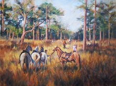 """Peggy Watkins, Gathering The Horses. $9,500 30"""" x 40"""" - Oil on Canvas"""