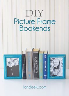 DIY Picture Frame Bookends!  Perfect way to display some of your favorite family photos!