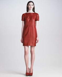Love Leather for the Fall this year!    T5BJL Cacharel Short-Sleeve Leather Dress   Neiman Marcus