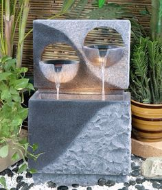 Outdoor Garden Fountains with Lights - - cemalkutu - indoorwaterfountains Water Wall Fountain, Home Fountain, Modern Fountain, Fountain Design, Diy Garden Fountains, Indoor Water Fountains, Indoor Fountain, Contemporary Outdoor Fountains, Indoor Waterfall