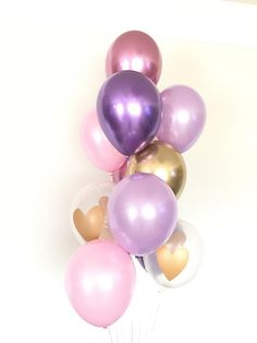 PARTY/_DECOR Happy Mothers Day Tulip Heart 12 Printed Latex Balloons Pack of 5 Hot Pink Light Pink and Lilac For The Best Celebration By Party D/écor