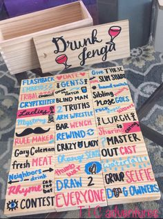 New college party games drinking drunk jenga 23 Ideas College Party Games, Fun Party Games, Adult Party Games, Diy Games, Craft Party, Ideas Party, Diy Party Jenga, Sleepover Party Games, Indoor Party Games
