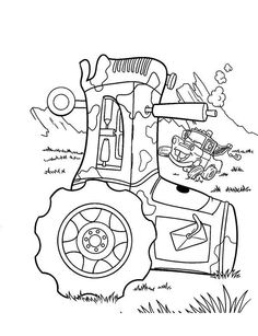 """Cars"" is a famous 2006 Disney movie about car racing. The movie features different kinds of cars.Here we offer 10 free printable Disney cars coloring pages Tractor Coloring Pages, Cartoon Coloring Pages, Colouring Pages, Printable Coloring Pages, Coloring Pages For Kids, Coloring Sheets, Coloring Books, Kids Coloring, Disney Cars Birthday"