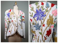VTG Floral Sequin Jacket / Art Deco Bright Pastel Sequined Beaded White Blazer Size 10 by braxae on Etsy