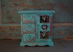 Turquoise Distressed Jewelry Box $39