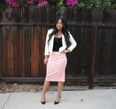 Pink Metallic Pencil Skirt from Lucy and Lyla, White Cropped Blazer, Black Suede Pumps, Gold Chain Link J. Crew Necklace for today's modest church outfit.