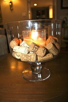 Trifle bowl, wine corks, candle....yep..another idea for wine corks