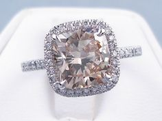 3 11 Carat Ct TW Cushion Cut Diamond Engagement Ring Natural Cinnamon SI1 | eBay