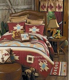 Canyon Dance Southwestern Quilt This cotton bedding features the bold patterns of southwestern Native American artisans in traditional rustic reds, earth browns and turquoise.(ONE TWIN QUILT LEFT IN STOCK) Southwestern Bedroom Decor, Southwestern Home, Southwestern Decorating, Home Design, Nest Design, Design Design, Design Ideas, Native American Bedroom, Indian Bedroom Design